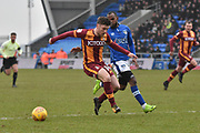 Bradford City forward Shay McCartan (14)  during the EFL Sky Bet League 1 match between Oldham Athletic and Bradford City at Boundary Park, Oldham, England on 3 February 2018. Picture by Mark Pollitt.