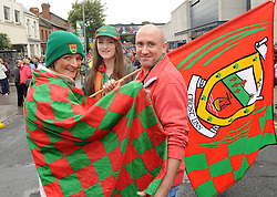 Mayo Fans Siobhan and Kevin Barrett with Ciara McManamon All Ireland Final day Croke Park.<br />