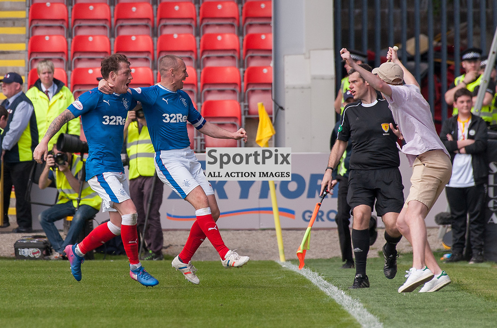 #7 Joe Garner and #9 Kenny Miller (Rangers) celebrate as fans invade the park - Partick Thistle v Rangers - Ladbrokes Premiership - 07 May 2017 - © Russel Hutcheson | SportPix.org.uk