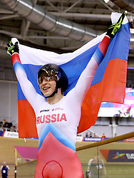 Russia's Daria Shmeleva celebrates after winning the Women's 500m Time Trial Final during day five of the 2018 European Championships at the Sir Chris Hoy Velodrome, Glasgow.