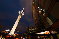 Sky Tower (tallest free-standing structure in the Southern Hemisphere), seen from the terrace of the Sky City Grand Hotel, Sky City, Central Business District, Auckland, New Zealand