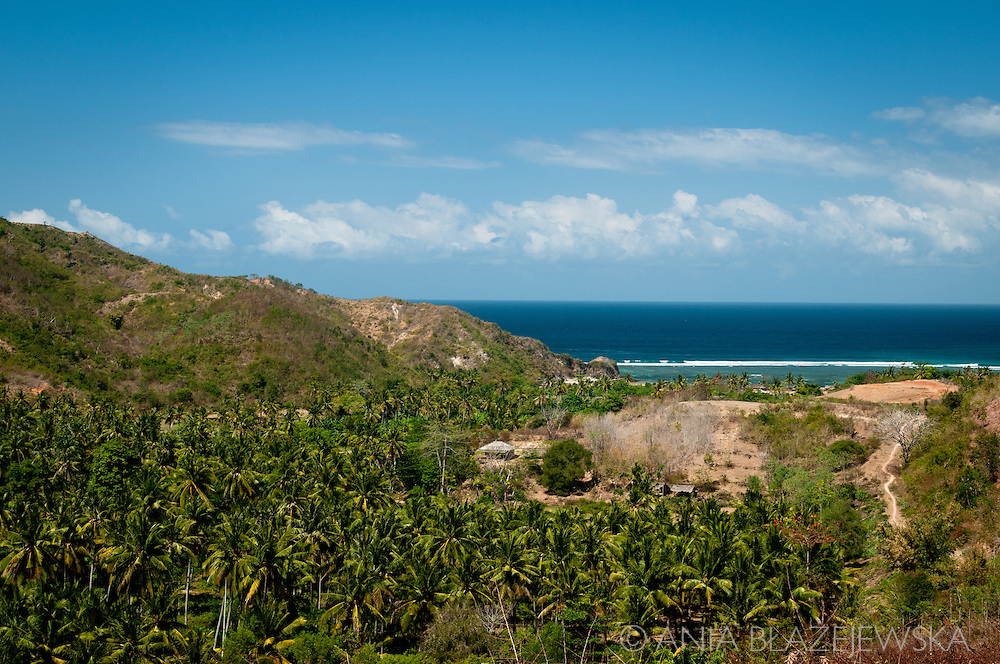 Indonesia, Lombok. View of beautiful Mawun Beach from the road from Kuta.