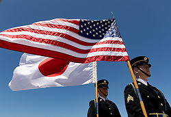 April 17, 2018 - West Palm Beach, Florida, U.S. - Members of the Marine Corps Honor Guard Washington D.C. await the arrival of Prime Minister Shinzo Abe at Palm Beach International Airport. The Prime Minister will meet with President Donald Trump at Mar-a-Lago. (Credit Image: © Greg Lovett/The Palm Beach Post via ZUMA Wire)