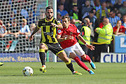 Robbie Weir under pressure during the Sky Bet League 1 match between Burton Albion and Coventry City at the Pirelli Stadium, Burton upon Trent, England on 6 September 2015. Photo by Aaron Lupton.