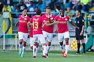 DEN HAAG, ADO Den Haag - PSV, voetbal Eredivisie, seizoen 2013-2014, 03-08-2013, Kyocera Stadion, PSV viert de 0-1 van PSV speler Georginio Wijnaldum (R), PSV speler Adam Maher (L), PSV speler Santiago Arias (2L), PSV speler Stijn Schraars (2R).