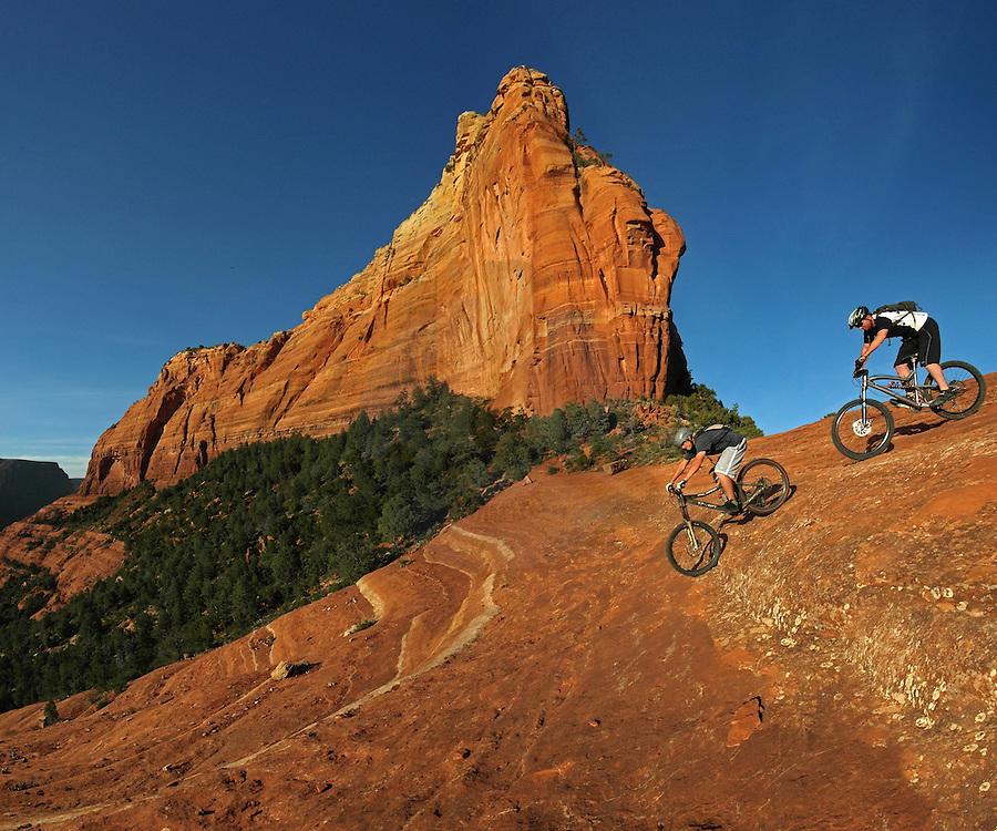Rolling down the slick rock entrance to the Hangover trail Sedona, AZ.