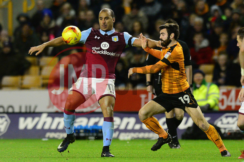 Gabriel Agbonlahor of Aston Villa is closed down by Jack Price of Wolverhampton Wanderers - Mandatory by-line: Dougie Allward/JMP - 14/01/2017 - FOOTBALL - Molineux - Wolverhampton, England - Wolverhampton Wanderers v Aston Villa - Sky Bet Championship
