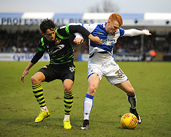 Rory Gaffney of Bristol Rovers is challenged by Niall Mason of Doncaster Rovers - Mandatory by-line: Neil Brookman/JMP - 23/12/2017 - FOOTBALL - Memorial Stadium - Bristol, England - Bristol Rovers v Doncaster Rovers - Sky Bet League One