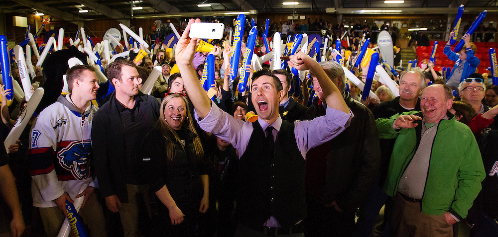 Sportsnet's James Cybulski takes a selfie with fans after Panorama Recreation Centre won Kraft Hockeyville on Saturday April 4th, 2015 in Victoria B.C. Canada.