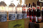 Back River Gin and wines on display at Sweetgrass Winery, Union, Maine.