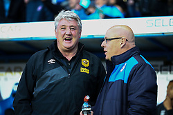 Hull City Manager Steve Bruce jokes with Reading Manager Brian McDermott before the match - Mandatory byline: Jason Brown/JMP - 07966 386802 - 19/04/2016 - FOOTBALL - Madejski Stadium - Reading, England - Reading v Hull City - Sky Bet Championship