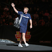 Tennis pro Jim Courier is seen during introductions of the PowerShares Tennis Series event at the Amway Center on January 5, 2017 in Orlando, Florida. (Alex Menendez via AP)