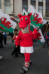CARDIFF, WALES - Thursday, March 1, 2012: Members of the Football Association of Wales take part in the 10th St. David's Day Parade through the streets of Cardiff. Spikey. (Pic by David Rawcliffe/Propaganda)