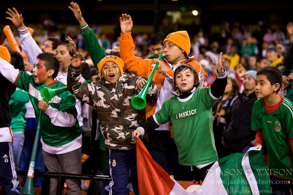 February 24, 2010; San Francisco, CA, USA;  Mexico fans celebrate before the game against Bolivia at Candlestick Park. Mexico defeated Bolivia 5-0.