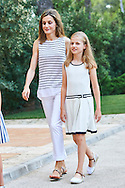 Queen Letizia of Spain, Crown Princess Leonor pose for the photographers at the Marivent Palace on August 4, 2016 in Palma de Mallorca, Spain.