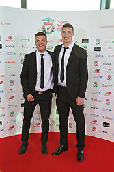 LIVERPOOL, ENGLAND - Thursday, May 12, 2016: Tom Brewitt and Lloyd Jones arrive on the red carpet for the Liverpool FC Players' Awards Dinner 2016 at the Liverpool Arena. (Pic by David Rawcliffe/Propaganda)