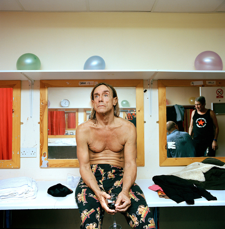 Singer, Iggy Pop, back stage after a performance at a Butlins Holiday Camp, in Minehead, Somerset.