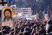 November 18, 1989. Sofia, Bulgaria. Anti-Communist demo in front of Alexander Nevski cathedral. An upside down portrait of Communist dictator Todor Shivkov next to a poster of Jesus Christ symbolizes change. (Photo Heimo Aga)