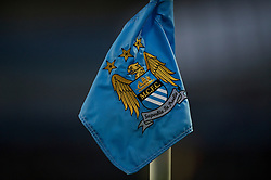 MANCHESTER, ENGLAND - Sunday, March 13, 2011: A Manchester City corner flag during the FA Cup 6th Round match against Reading at the City of Manchester Stadium. (Photo by David Rawcliffe/Propaganda)