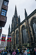 The Hub was built in Victorian Gothic style (aka Neo-Gothic) in1845 at the top of Edinburgh's Royal Mile. The Hub contains a performance space, venues for functions, conferences and weddings. It is the home of the Edinburgh International Festival and its central ticketing office, plus an information center for all Edinburgh Festivals. Its gothic spire is the highest point in central Edinburgh. The gothic revivalist building was built 1842-1845. Prior to the new Scottish Parliament Building at Holyrood in 2004, the Hub was occasionally used for meetings of the Scottish Parliament when the Church of Scotland's General Assembly Hall was unavailable. Edinburgh is the capital city of Scotland, in Lothian on the Firth of Forth, Scotland, United Kingdom, Europe.