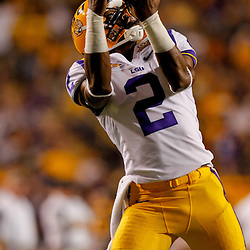 Sep 25, 2010; Baton Rouge, LA, USA; LSU Tigers wide receiver Rueben Randle (2) during warms ups prior to a game against the West Virginia Mountaineers at Tiger Stadium.  Mandatory Credit: Derick E. Hingle