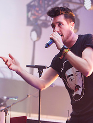 © Licensed to London News Pictures. 27/02/2014. Edinburgh, Scotland. Bastille play the Edinburgh Corn Exchange on the opening night of their sold out UK 'Bad Blood Part III' tour. Photo credit : Duncan McGlynn/LNP