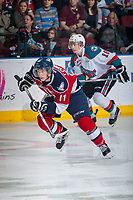 KELOWNA, CANADA - MARCH 27: Ty Comrie #11 of Tri-City Americans skates against the Kelowna Rockets on March 27, 2015 at Prospera Place in Kelowna, British Columbia, Canada.  (Photo by Marissa Baecker/Getty Images)  *** Local Caption *** Ty Comrie;