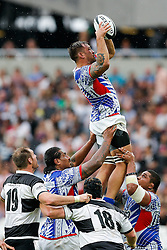Samoa Flanker Jack Lam wins a lineout - Mandatory byline: Rogan Thomson/JMP - 07966 386802 - 29/08/2015 - RUGBY UNION - The Stadium at Queen Elizabeth Olympic Park - London, England - Barbarians v Samoa - International Friendly.