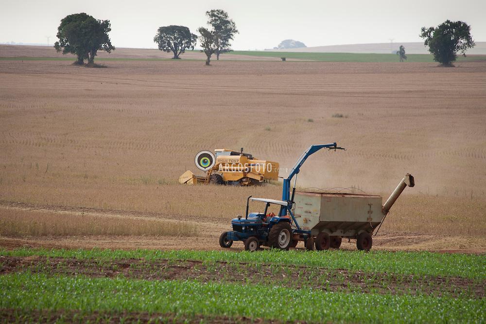 Trator e colheitadeira.Plantacao de milho e colheita mecanizada de soja. Duas culturas na mesma area./ Tractor and combine. Planting maize and soybean mechanized harvest. Two cultures in the same area.
