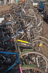 A tangle of bikes await their owners outside the Amsterdam Central Train Station.