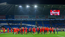 CARDIFF, WALES - Tuesday, November 19, 2019: Wales celebrate after the final UEFA Euro 2020 Qualifying Group E match between Wales and Hungary at the Cardiff City Stadium where Wales won 2-0 and qualified for Euro 2020. (Pic by Laura Malkin/Propaganda)