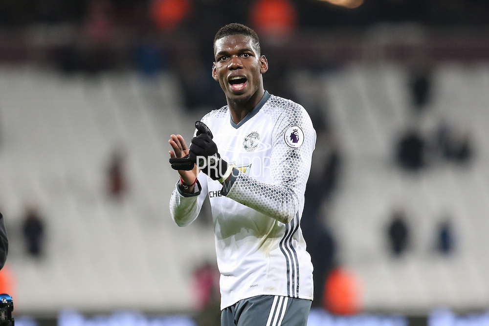 Paul Pogba Midfielder of Manchester United celebrates with fans during the Premier League match between West Ham United and Manchester United at the Stadium Queen Elizabeth Olympic Park, London, United Kingdom on 2 January 2017. Photo by Phil Duncan.