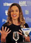 13.SEPT.2010. TORONTO<br /> <br /> HILARY SWANK ATTENDS THE PRESS CONFRENCE OF NEW FILM CONVICTION AT THE 35TH TORONTO FILM FESTIVAL IN TORONTO.<br /> <br /> BYLINE: EDBIMAGEARCHIVE.COM<br /> <br /> *THIS IMAGE IS STRICTLY FOR UK NEWSPAPERS AND MAGAZINES ONLY*<br /> *FOR WORLD WIDE SALES AND WEB USE PLEASE CONTACT EDBIMAGEARCHIVE - 0208 954 5968*