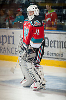 KELOWNA, CANADA - NOVEMBER 7:  Sam Bobyn #31 of the Kelowna Rockets stands on the ice during warm up against the  Edmonton Oil Kings at the Kelowna Rockets on November 7, 2012 at Prospera Place in Kelowna, British Columbia, Canada (Photo by Marissa Baecker/Shoot the Breeze) *** Local Caption ***