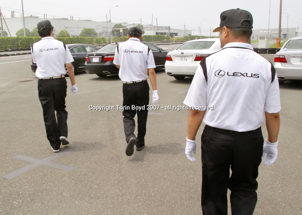 These are special test drivers who run driving tests on Lexus luxury  sedans assembled here at Toyota Motor Corp's Tahara plant in Aichi Prefecture. At this plant Toyota manufactures the Lexus models: LS600h (hybrid launched in Japan in May 2007), the 600hl, LS460, 460L, GS450h, 430, 350, 300, IS350 and 250. On average there are 670 Lexus sedans manufactured here every day, which is about one every 83 seconds coming off the line. In addition to the Lexus models cranked out here, Toyota also makes the Land Cruiser Prado, 4 Runner and RAV4 sport vehicles.