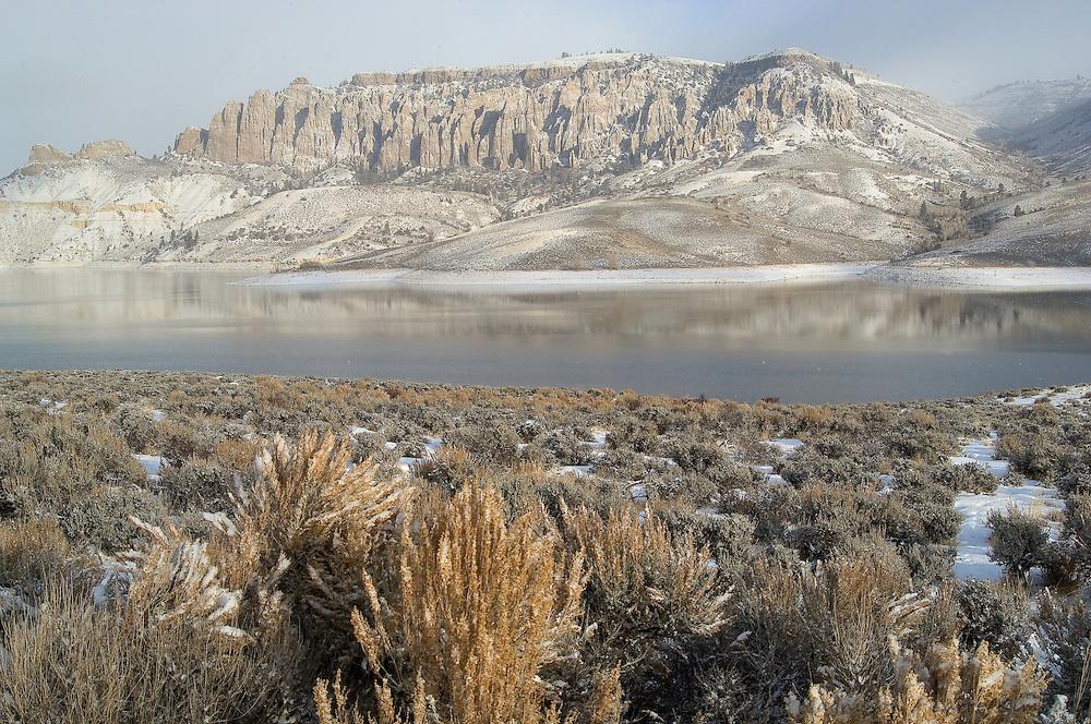 Fresh snow on Pinnacles above Blue Mesa Reservoir; Curecanti National Recreation Area, CO