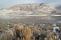 Fresh snow on Pinnacles above Blue Mesa Reservoir; Curecanti National Recreation Area, CO