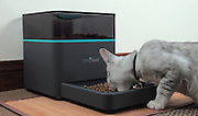 Forgotten to feed the dog? Don't panic, there's an app for that (And it will even tweet to tell you how much they've eaten)<br /> <br /> A revolutionary new gadget means pet owners can now feed their animals when they're away - by simply touching a button on their mobile phone.<br /> Inventor Carlos Herrera has developed the wireless pet-feeder owners can control from their smartphone to ensure their animals never miss a meal.<br /> The product not only dispenses food, either on schedule or by phone command, it also monitors your pet's health and sends alerts via Twitter and Facebook.<br /> The mobile phone will receive a text, email, Facebook or Twitter message, that reports on feeding start and end times and even the amount consumed.<br /> The machine uses the information it collects to create feeding schedules and it monitors food intake and nutritional habits.<br /> The entrepreneur, from Pasadena, Los Angeles, California, explained how he came up with the concept for Pintofeed in March 2012.<br /> The 32-year-old said: 'We spent a few months on the drawing-board thinking of the idea, and by July we were up and running.<br /> 'We wanted to build a product that provided convenience to the pet owner and healthy eating to the pet.<br /> <br /> 'With our background in robotics and artificial intelligence, we felt like we could create a smart web connected appliance that could do both autonomously.'<br /> The product is made of high-impact plastic and can hold up to 10lbs (4.53 kg) of dry food.<br /> Mr Herrera admits he does not own any pets - but the inspiration came from a special friend in their office.<br /> He added: 'Ironically, I do not have pets, but most of our team members do.<br /> 'We do have an office dog named 'underdog' - he helps us with usability testing!'<br /> <br /> The company has raised the £30,000 which will allow the product to be put into production.<br /> A limited edition batch are due to be available early in 2013 before full production b
