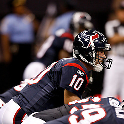 August 21, 2010; New Orleans, LA, USA; Houston Texans quarterback John David Booty (10) during warm ups prior to kickoff of a preseason game against the New Orleans Saints at the Louisiana Superdome. Mandatory Credit: Derick E. Hingle