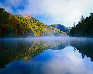 Millcreek Lake and autumn colors at sunrise,Natural Bridge State Park, Kentucky