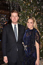 Tom Naylor-Leyland and Alice Naylor-Leyland at reception to celebrate the launch of the Claridge's Christmas Tree 2017 at Claridge's Hotel, Brook Street, London England. 28 November 2017.<br /> Photo by Dominic O'Neill/SilverHub 0203 174 1069 sales@silverhubmedia.com