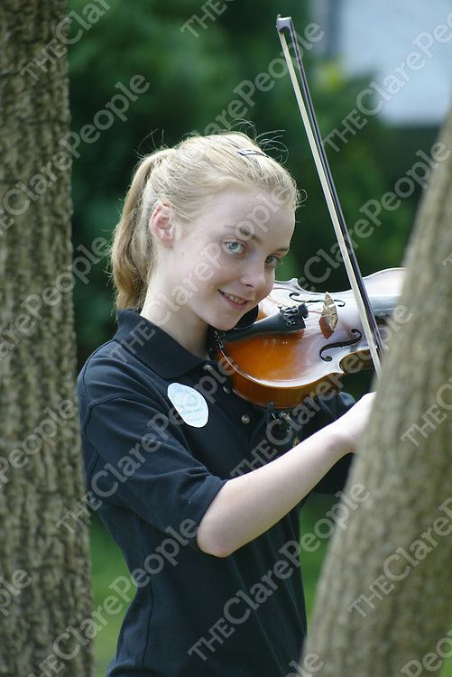 Catherine O Brien (age 12) from Newmarket-On-fergus pictured in practice for the 12-15 grupai cheoil at the Fleadh at the Vocational School in Ennis on Saturday. Pic. Brian Arthur/ Press 22.
