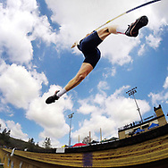 April 5, 2014 - Trabuco Hills' Luke Newman competes in the pole vaulting event at the Trabuco Hills Invitational at Trabuco Hills High School in Mission Viejo, CA.