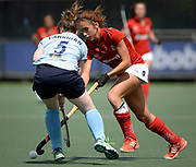Monkstown's  Rosie Carrigan challenges with Complutense's Begona Garcia during their 2nd game of the EHCC 2017 at Den Bosch HC, The Netherlands, 4th June 2017