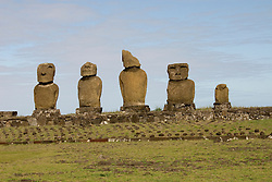Chile, Easter Island: Statues or moai on a platform or ahu, called Ahu Tahai, near the town of Hanga Roa..Photo #: ch219-33099.Photo copyright Lee Foster www.fostertravel.com lee@fostertravel.com 510-549-2202