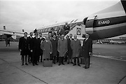 25/03/1966<br /> 03/25/1966<br /> 25 March 1966<br /> Netherlands Trade Mission departing for Amsterdam from Dublin Airport. Image shows the delegation about to board the Aer Lingus Vickers Viscount.