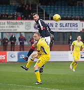 Dundee&rsquo;s Marcus Haber towers above St Johnstone&rsquo;s Steven Anderson - Dundee v St Johnstone in the Ladbrokes Scottish Premiership at Dens Park, Dundee - Photo: David Young, <br /> <br />  - &copy; David Young - www.davidyoungphoto.co.uk - email: davidyoungphoto@gmail.com