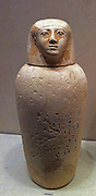 Canopic Jar of Maruta, 18th Dynasty, New Kingdom. Reign of Thutmose III ca. 1479–1425 B.C. Egypt, Upper Egypt; Thebes, Wadi Gabbanat el-Qurud, Tomb of the three foreign wives of Thutmose III. made in Limestone, blue paste