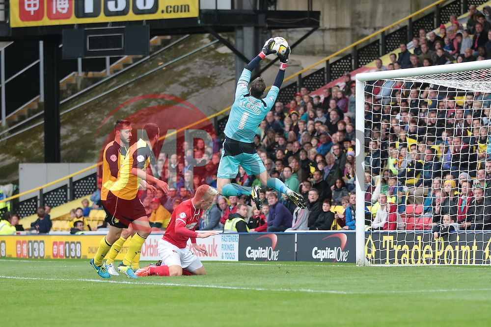 Watford's Manuel Almunia collects the ball  - Photo mandatory by-line: Nigel Pitts-Drake/JMP - Tel: Mobile: 07966 386802 14/09/2013 - SPORT - FOOTBALL -  Vicarage Road - Hertfordshire - Watford V Charlton Athletic - Sky Bet Championship