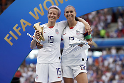 July 7, 2019 - Lyon, France - Megan Rapinoe golden boot and Alex Morgan silver boot during the 2019 FIFA Women's World Cup France Final match between The United State of America and The Netherlands at Stade de Lyon on July 7, 2019 in Lyon, France. (Credit Image: © Jose Breton/NurPhoto via ZUMA Press)